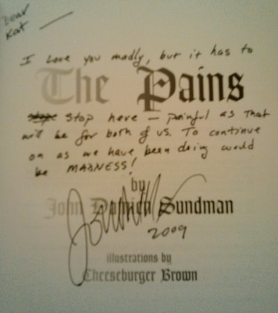cover page of the pains with my handwritten inscription